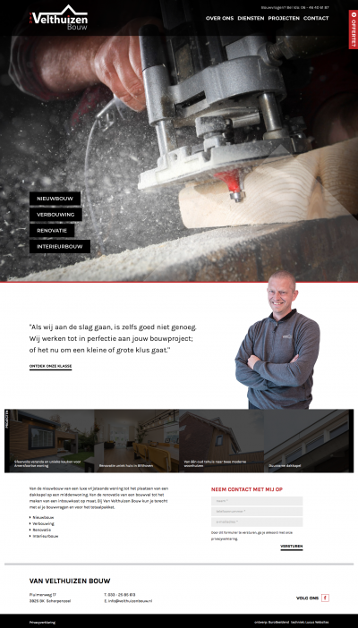 Websiteteksten Van Velthuizen Bouw