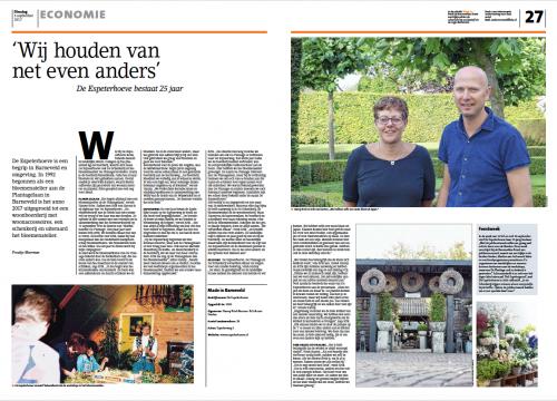 Bedrijfsreportage De Espeterhoeve Barneveldse Krant - Door Froukje Meerman