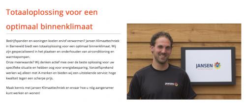 Website Jansen Klimaattechniek